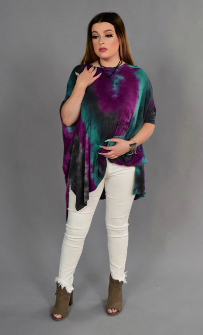 PSS-M Asymmetrical Teal & Grape Tie-Dye Top with Side Splits