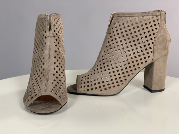 SHOES {Qupid} Taupe Laser Cut Peep Toe Booties