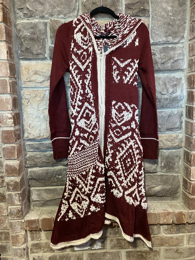 10-13 OT-F {Imagine That} Maroon White Zip Up Long JacketSIZE S/M M/L