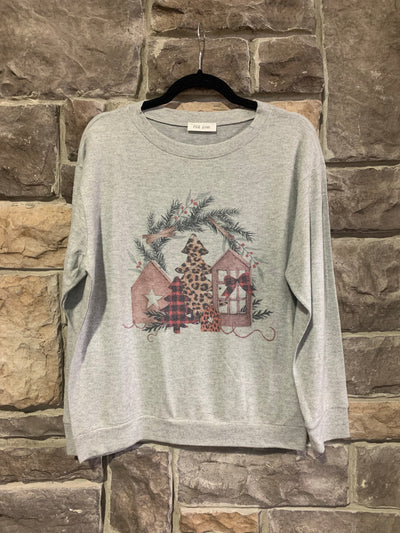 10-09 GT-C {Tis The Season} Grey Christmas Themed Top SIZE S M L