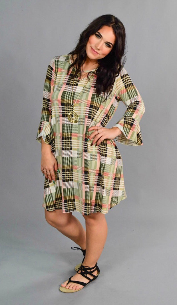 PQ-Q {Finding My Way} Olive/Peach Plaid Keyhole Dress