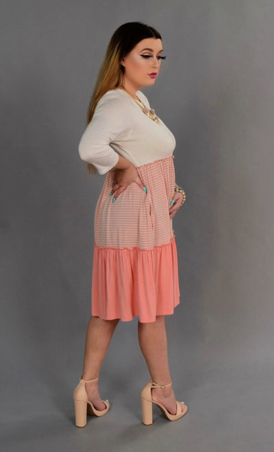 CP-A {Class Act} PEACH Dress with Contrast Layers