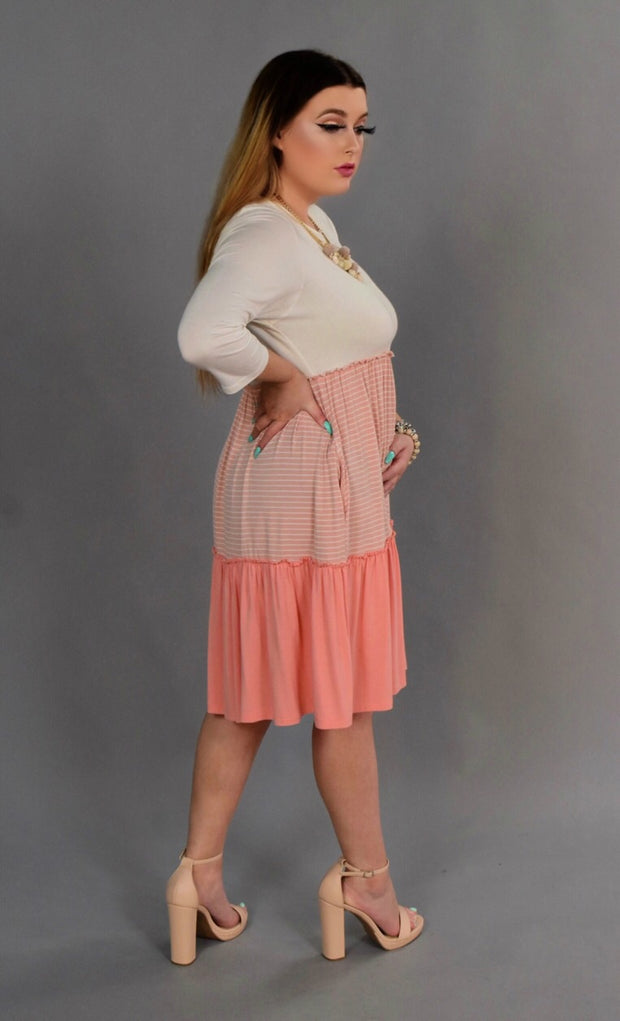 CP-A {Class Act} PEACH Dress with Contrast Layers  SALE!!