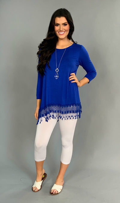 SLS-K BLUE Scoop-Neck with Crochet Detail Fringed Hem Tunic