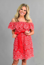 OS-N {Sassier Than Ever} Red Dress with White Eyelet Detail