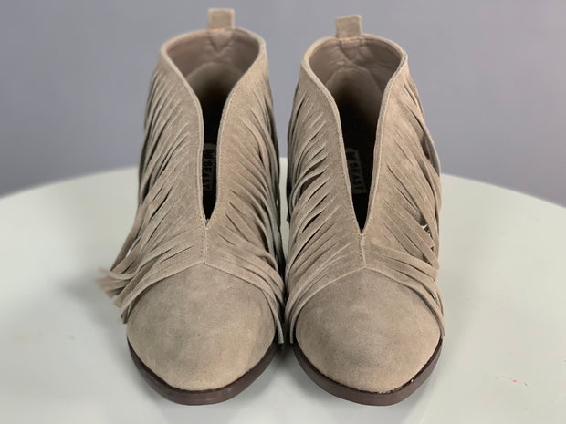SHOES {Beast} Grey Fringed Booties with Block Heel