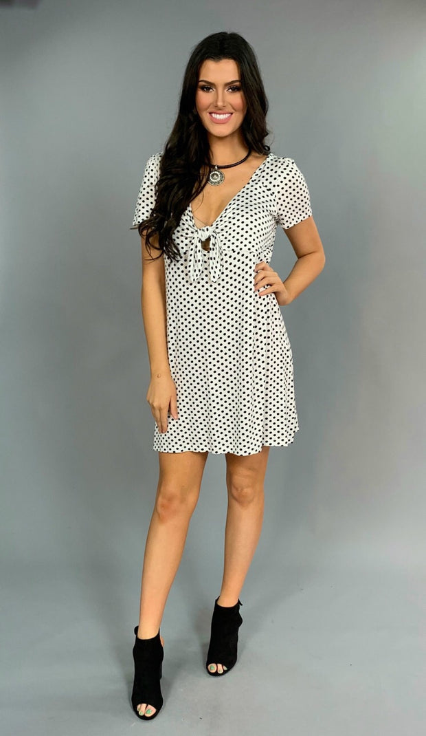 "PSS-W ""Let You Go""  White/Black Polka Dot With Tie Tunic"