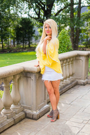 SD-B {Sweet Sunshine} Yellow Top with Crochet Lace Sleeve Detail