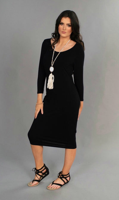 Black Long 3/4 Sleeve Knee Length Dress
