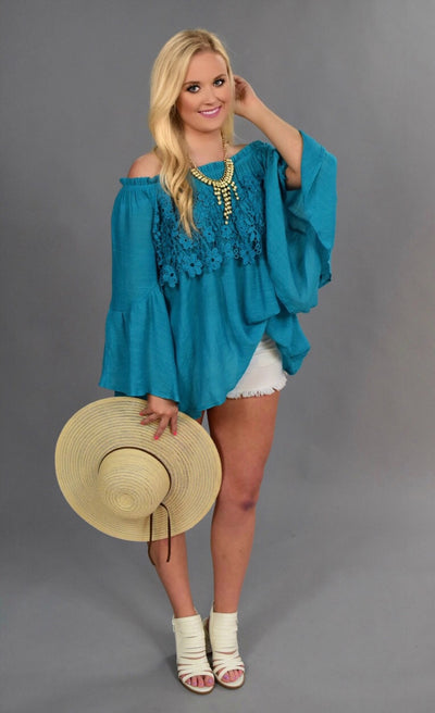 SQ-T {Blooming Love} Teal Top with Crochet Lace Detail