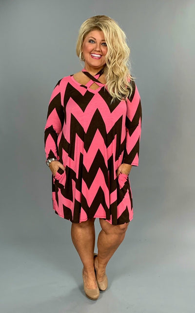 PQ-D {Watch Me Go} Brown/Pink Chevron Print Dress