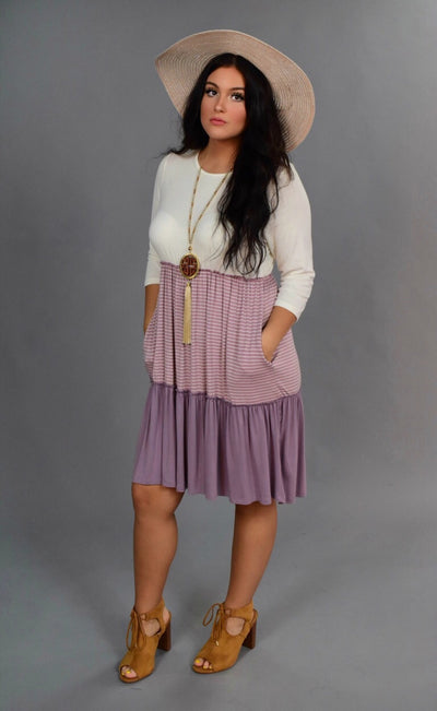CP-Q {Class Act} Lavender Dress with Contrast Layers SALE!!