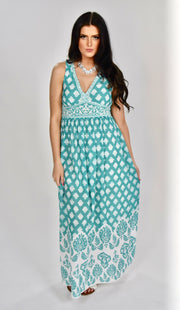 LD-K {Know My Secrets} Mint Damask Maxi Dress with Lining