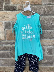 KIDS {Girls Rule} Aqua Graphic Tee Star Print Capri Set