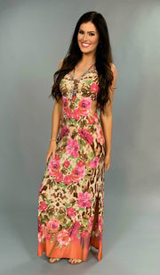 LD-B {Island Life} Animal Print Floral Maxi Dress Open Sides