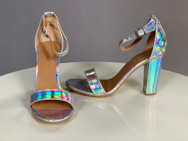 Shoes {Can't Stop The Fun} Silver Reflective Snakeskin Heels