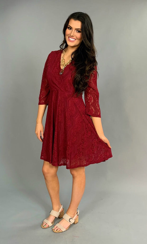 SQ-B {Broadway Lights} Burgundy Dress Lace Overlay & Zip Back