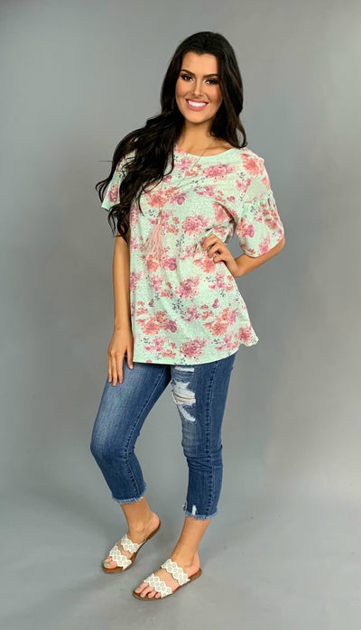 PSS-D {Limited Edition} Soft Mint Floral with Ruffle Sleeves Tunic