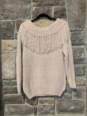 10-20 OS-S {Problem Child} Ivory Neck Detail Sweater SIZE S M L