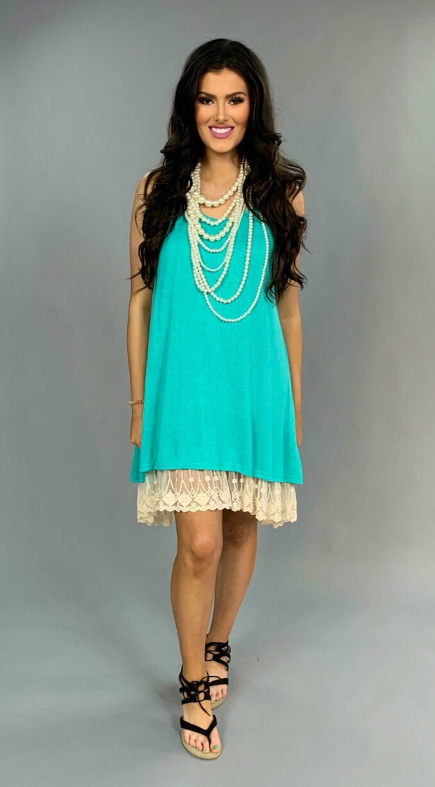 "SV-A {Always Classy} ""UMGEE"" Emerald Dress with Lace Slip"