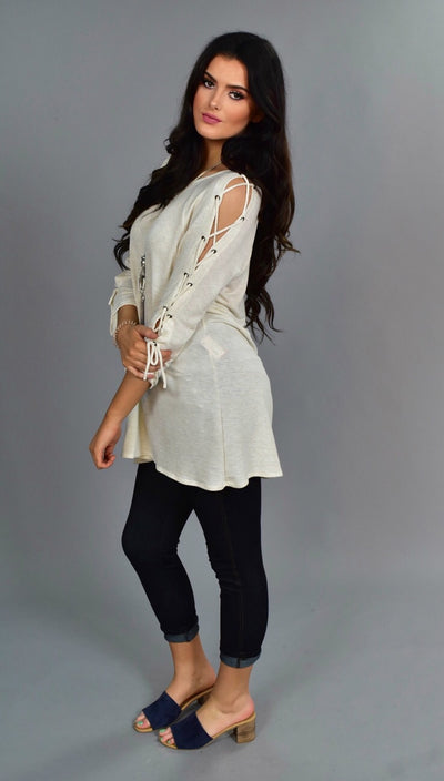 "OS-K ""Now & Forever"" Cream Top with Lace-Up Detail Sleeves"