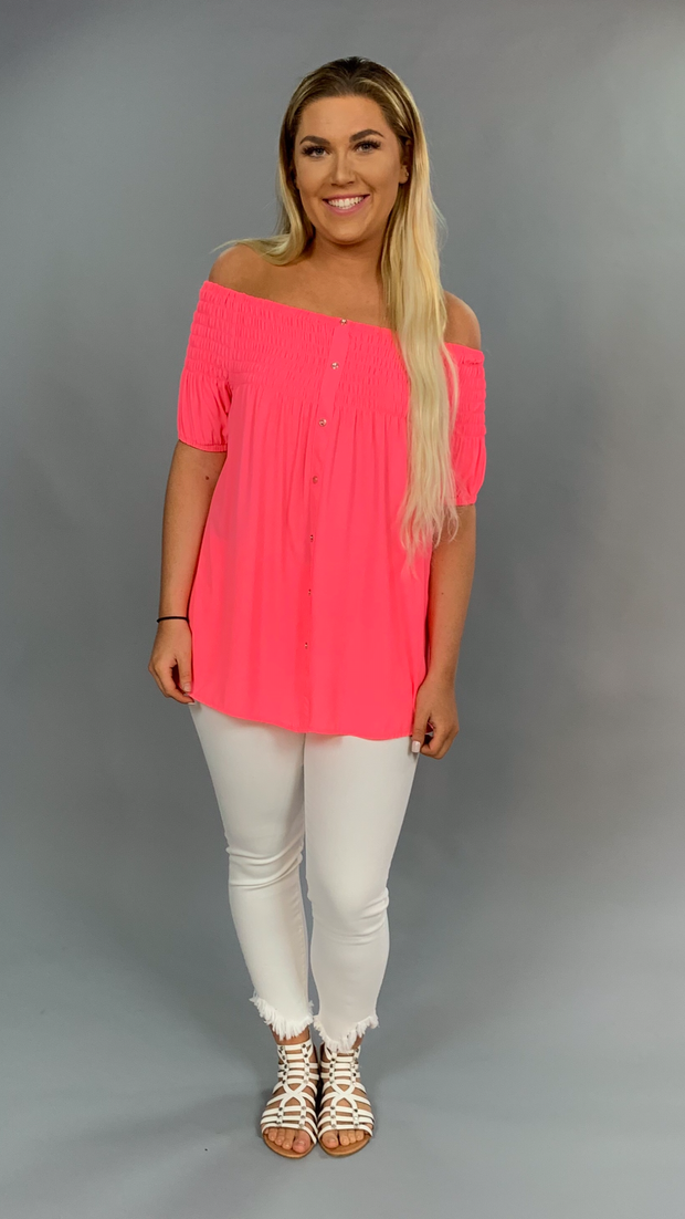 OS-T {Pop Star} Neon Pink Off Shoulder Top with Elastic Detail