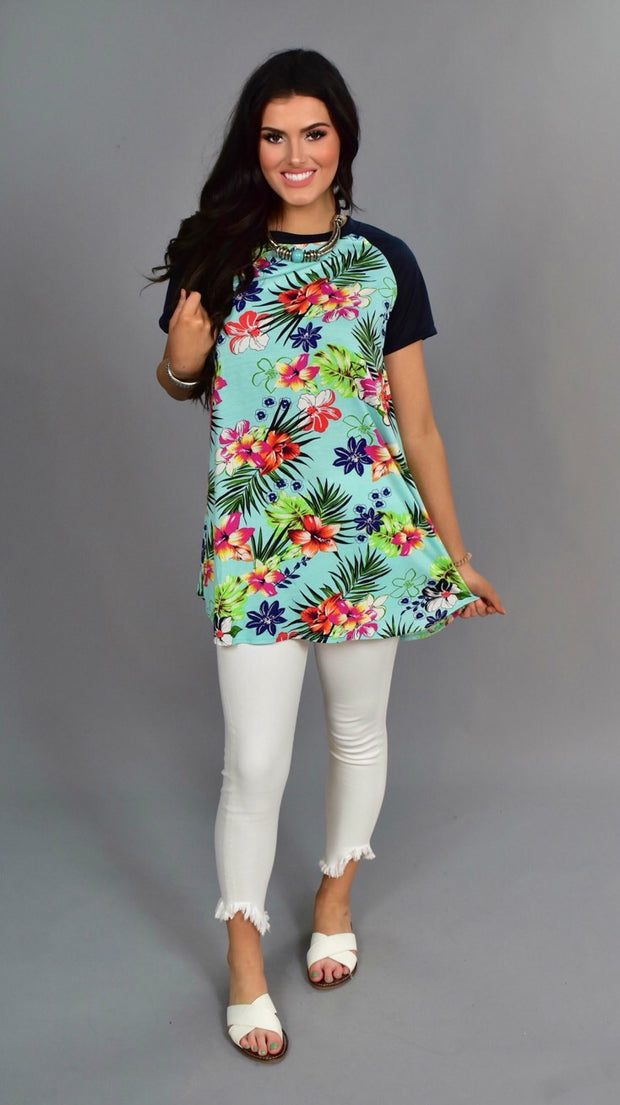 PSS-C {Tropical Breeze} Aqua Floral Print Top with Navy Sleeves