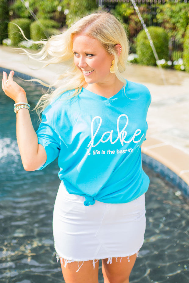 GT-B {Lake Life Is The Best Life} Turquoise V-Neck T-Shirt SALE!!