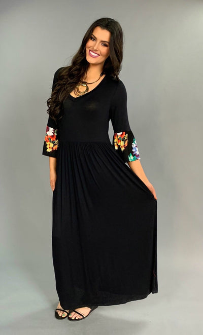 LD-U {Alright Already} Black Maxi Dress with Floral Bell Sleeves