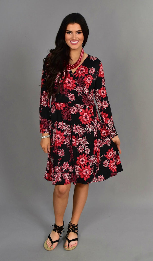PLS-L {Wait For The Reaction} Black Floral Wrap-Tie Dress