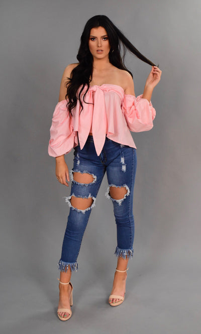 OS-D {Breezy Pink} Open-Shoulder Sweetheart Tie