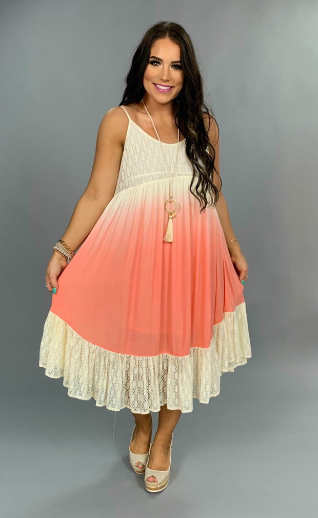 SV-D {A Perfect Passion} Lined Coral Dress w/ Lace Detail SALE!!