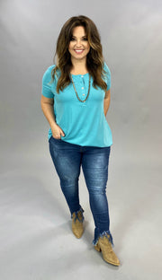 SSS-O {Count On Me} Blue Top W/ Button Up Detail