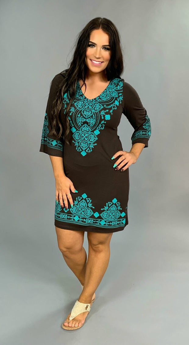 SD-F {Tell It To My Heart} Brown Dress Teal Design