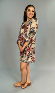 PQ-i {Dare To Stare} Taupe/Burgundy Paisley Dress