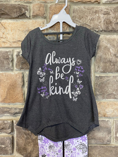 KIDS {Cool To Be KInd} Charcoal Graphic Tee W/Butterfly Capri Set SALE!!