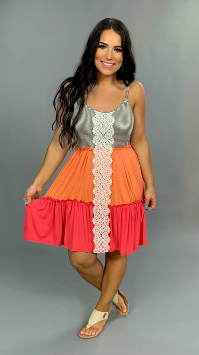 SV-I {Seaside Escape} Coral Pink Contrast Dress Crochet Lace