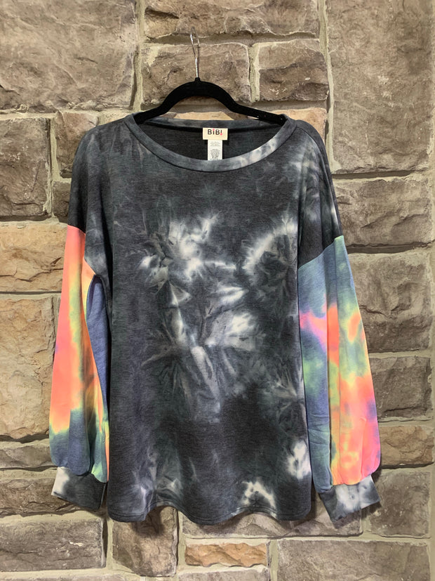 10-09 PLS-B {Your True Colors} Grey Multicolored Tie Dye Top SIZE S M L XL