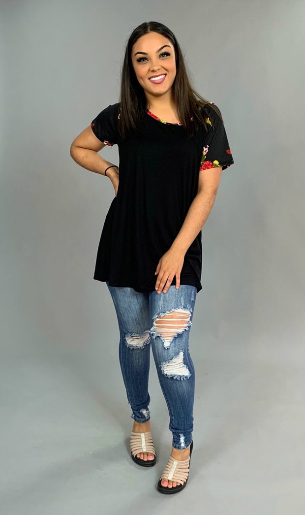 CP-Z {Stay Tuned} Black with Floral Print Sleeves Tunic