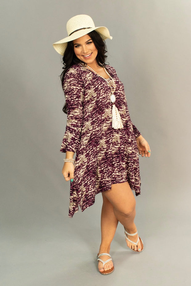 PQ-S {West  Coast} Grape/Multi-Print V-Neck Dress