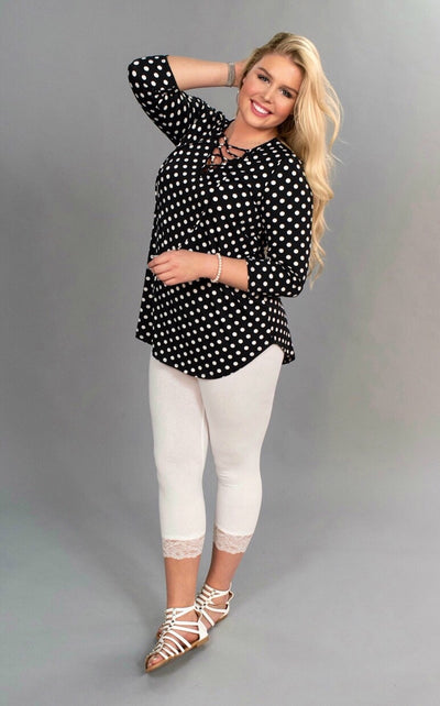PQ-A {On The Other Hand} Black/White Polka Dot Tunic