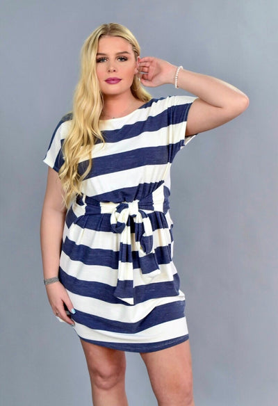 PSS-G {Expect The Best} Navy Striped Dress w/Belt