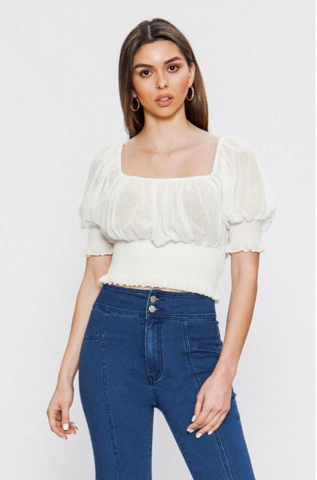 OS-A {Stunning Look} White Textured Fabric Top with Elastic Detail