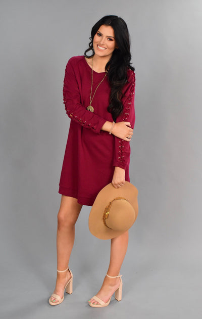 SLS-G {Gimme A High-Five} Burgundy Tunic with Sleeve Detail
