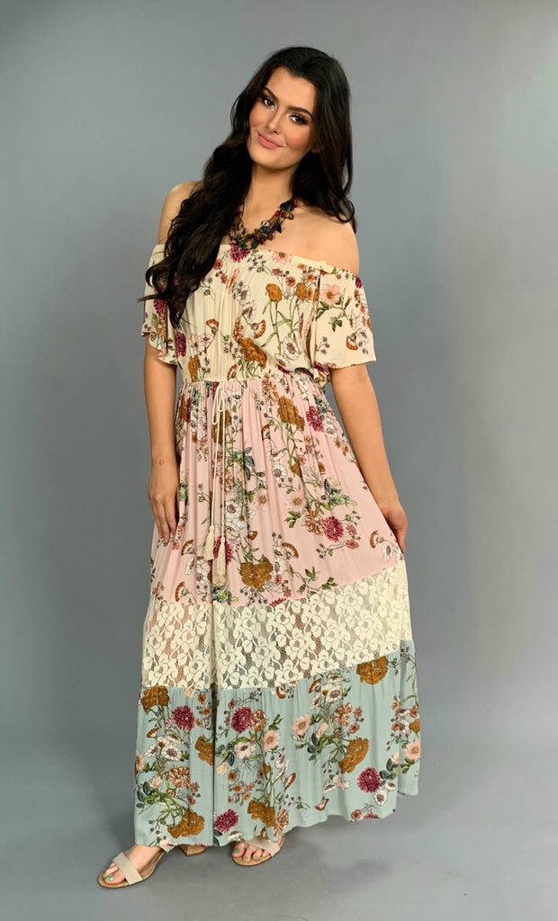 LD-V {Happily Ever After} Floral Tired Dress with Lace Contrast SALE!!