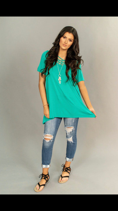 SSS-J {Don't Let Go} Emerald Cage Neck Detail Tunic