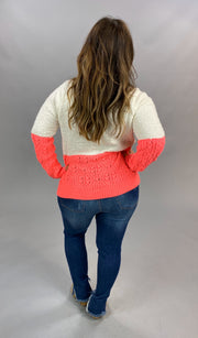 10-13 CP-P {Catch Your Eye} Ivory Pink Colorblock Sweater SIZE S/M M/L