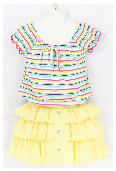 KIDS {Little Sunshine} Multi Stripe Shirt With Yellow Skirt Set SALE!!