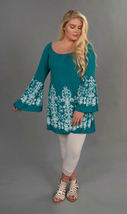 SD-X {Delicate Flower} Teal Tunic with White Design