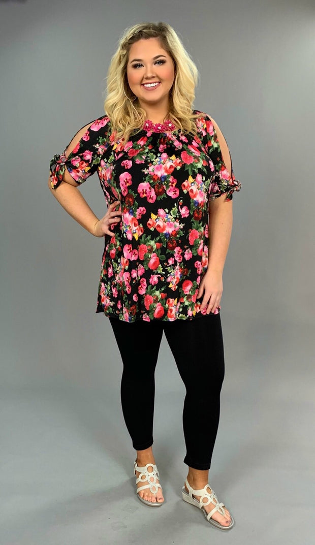 OCS-A {Really Like It} Black/Floral Top with Tie Sleeves